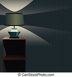 Vector bedside table wiht Night Lamp and Light . Blue background. Format eps10.