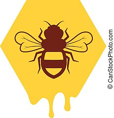 vector bee and honeycomb icon