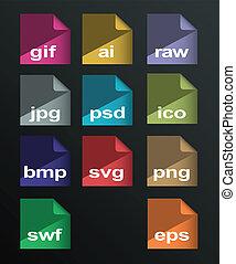 vector, beeld, formaten, set