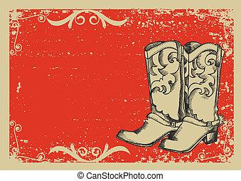 .vector, beeld, laarzen, achtergrond, cowboy, grunge, grafisch, tekst