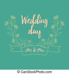 vector, beeld, mevr., m., trouwfeest