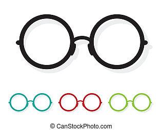 vector, beeld, van, bril, witte
