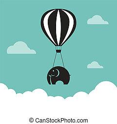 vector, beeld, van, elefant, met, ballons