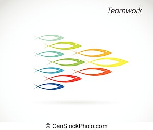vector, beelden, van, de, ontwerp, van, fish., teamwork, concept