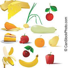 vector, beelden, van, voedingsmiddelen
