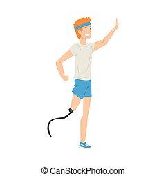 vector, been, mannelijke , het glimlachen, volle, het genieten van, prothese, persoon, µe e?d???? a????e? a???t??, illustratie, leven