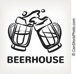 Vector beer black icon logo