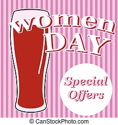 vector beer glass with lettering women day in pink colors