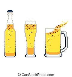 vector beer icon pixel art set on white background