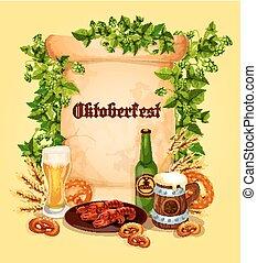 Vector beer poster for Oktoberfest German festival -...