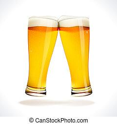 Beer splashing, two glasses