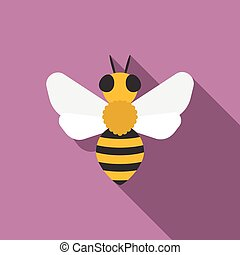 vector bees icon, flat design with long shadow