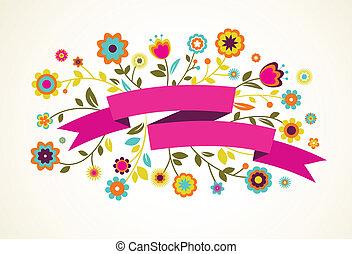 vector, begroetende kaart, met, bloemen, en, lint