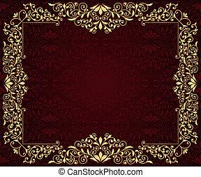 vector, begroetende kaart, met, gouden, frame, in, vintge,...