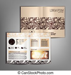 Vector beige brochure template design with abstract pattern.