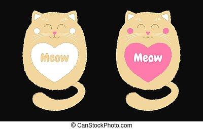 Vector Beige Cat in Cartoon Style. 4