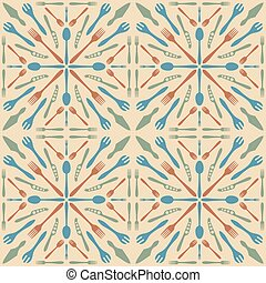 vector beige color solid colors cutlery seamless pattern in ceramic tile retro style