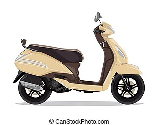 Vector beige modern scooter, flat style side view.