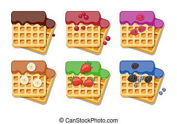 vector belgian waffles with colorful syrup - vector belgian ...