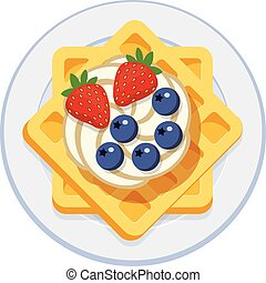 vector belgian waffles with ice cream and berries - vector...
