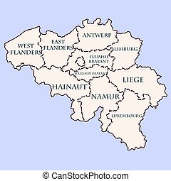 Belgium contour map with provinces