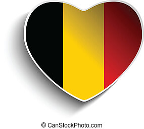 Belgium Flag Heart Paper Sticker - Vector - Belgium Flag...