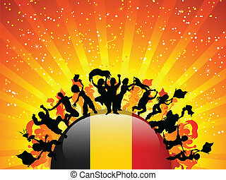 Belgium Sport Fan Crowd with Flag