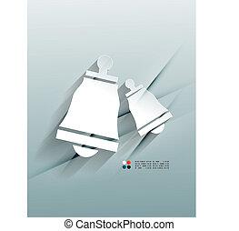 Vector bell design 3d paper Christmas design