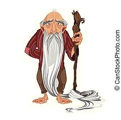 vector., berger, vieux, dessin animé, détaillé, illustrations, homme, caractère