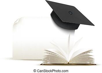 vector., berretto, book., graduazione, fondo, bianco