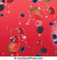 Vector Berries falling in Liquid