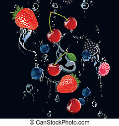 Vector berries on a Black Background