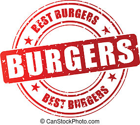 Vector illustration of best burgers stamp icon