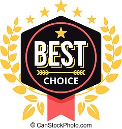 Vector best choice label red ribbon