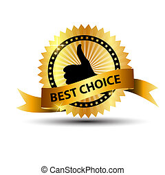 Vector best choice  label with gold ribbon.