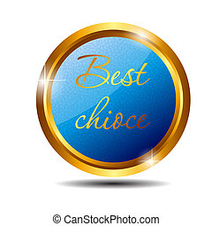 Vector best choice label with red ribbon.