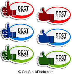 Vector best choice oval stickers with gesture hand - ...