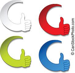 Vector best choice stickers - gesture hand