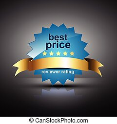 vector best price label with golden ribbon