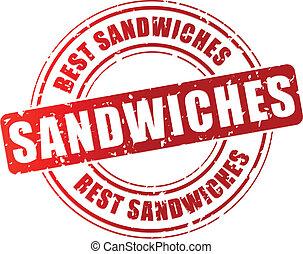 Vector best sandwiches stamp - Vector illustration of best...