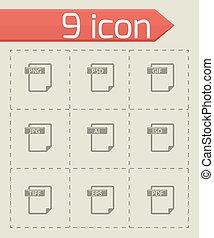 vector, bestand, type, iconen, set