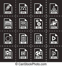 vector, bestand, type, pictogram, set