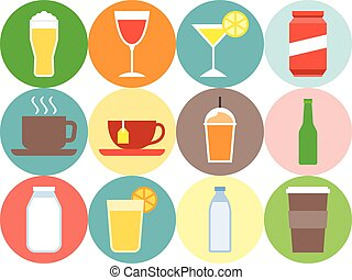 Vector beverage icons, flat design