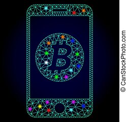 vector, beweeglijk, chistmas, bitcoin, stippen, polygonal, gloeiend, maas, bank