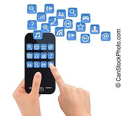 vector., beweeglijk, icons., hand, telefoon, vasthouden
