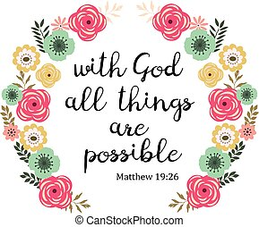 vector illustration of a Bible verse. With God all things are possible. Inspirational qoute.
