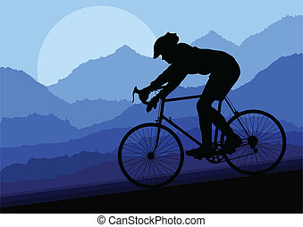 vector, bicicleta, bicicleta, silueta, deporte, jinete, ...