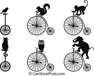 vector, bicicleta, retro, animales