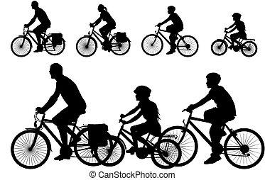 vector, -, bicicleta, silueta, familia
