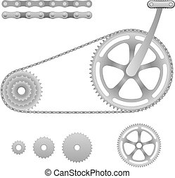 Illustration of chain transmission bicycle with pedal